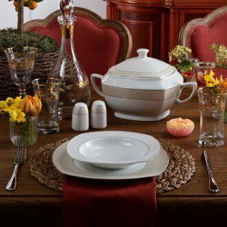 Korkmaz - Korkmaz Belinda Collection 86 Parça Kare Yemek Takımı