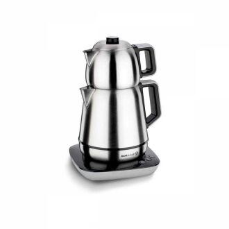 Korkmaz - Korkmaz Demiks Satin/Siyah Elektrikli Çaydanlık