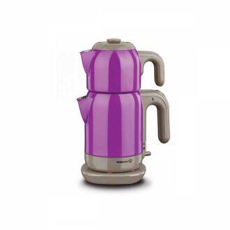 Korkmaz - Korkmaz Demtez Mor/Gri Elektrikli Çaydanlık