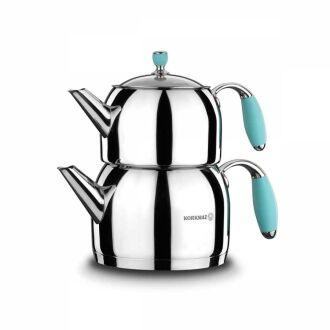 Korkmaz - Korkmaz Flora Mavi Maxi Çaydanlık Takımı