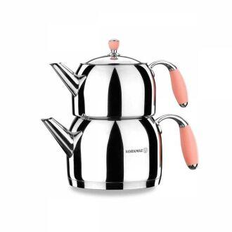 Korkmaz - Korkmaz Flora Pembe Maxi Çaydanlık Takımı