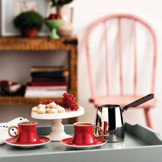 Korkmaz - Korkmaz Freedom 6'lı Kırmızı Kahve Fincan Takımı