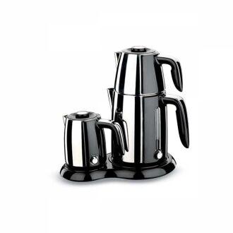 Korkmaz - Korkmaz Inox/Siyah Çay Kahve Makinesi