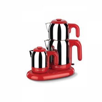 Korkmaz - Korkmaz Mia Inox/Kırmızı Çay Kahve Makinesi