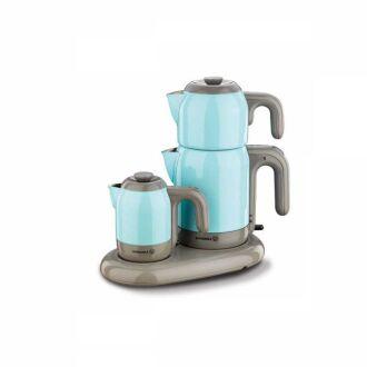 Korkmaz - Korkmaz Mia Mavi/Gri Çay Kahve Makinesi