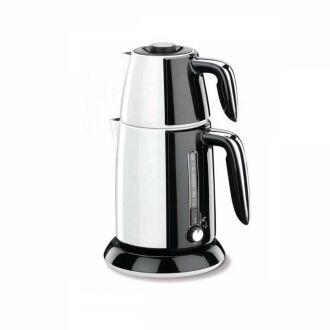 Korkmaz - Korkmaz Tek Çay Beyaz/Siyah Elektrikli Çaydanlık