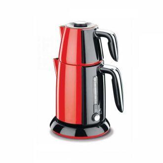 Korkmaz - Korkmaz Tek Çay Kırmızı/Siyah Elektrikli Çaydanlık