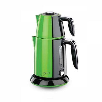Korkmaz - Korkmaz Tek Çay Yeşil/Siyah Elektrikli Çaydanlık