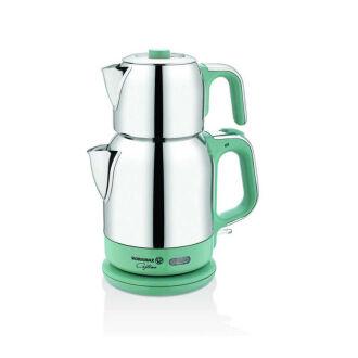 Korkmaz Çaytema Turkuaz/Krom Elektrikli Çaydanlık