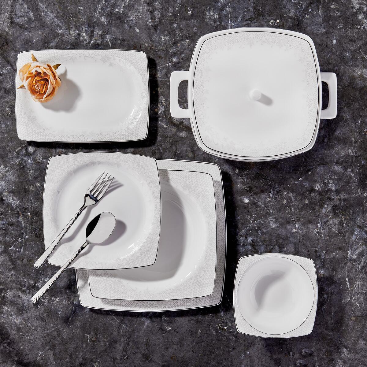 Korkmaz Bone Selection 60 Parça Kare Yemek Takımı