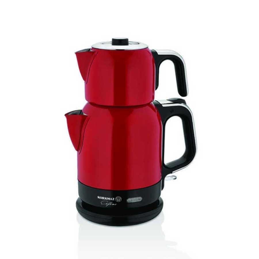 Korkmaz Çaytema Kırmızı/Krom Elektrikli Çaydanlık