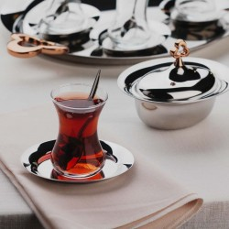 Korkmaz - Korkmaz Çintemani Rosa Gold 39 Parça Çay Seti (1)