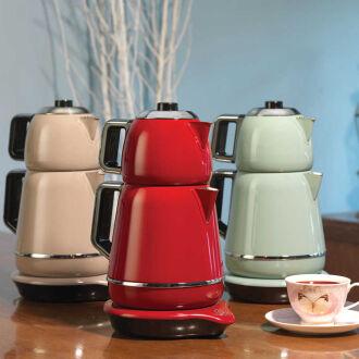 Korkmaz Demiks Bej/Krom Elektrikli Çaydanlık - Thumbnail