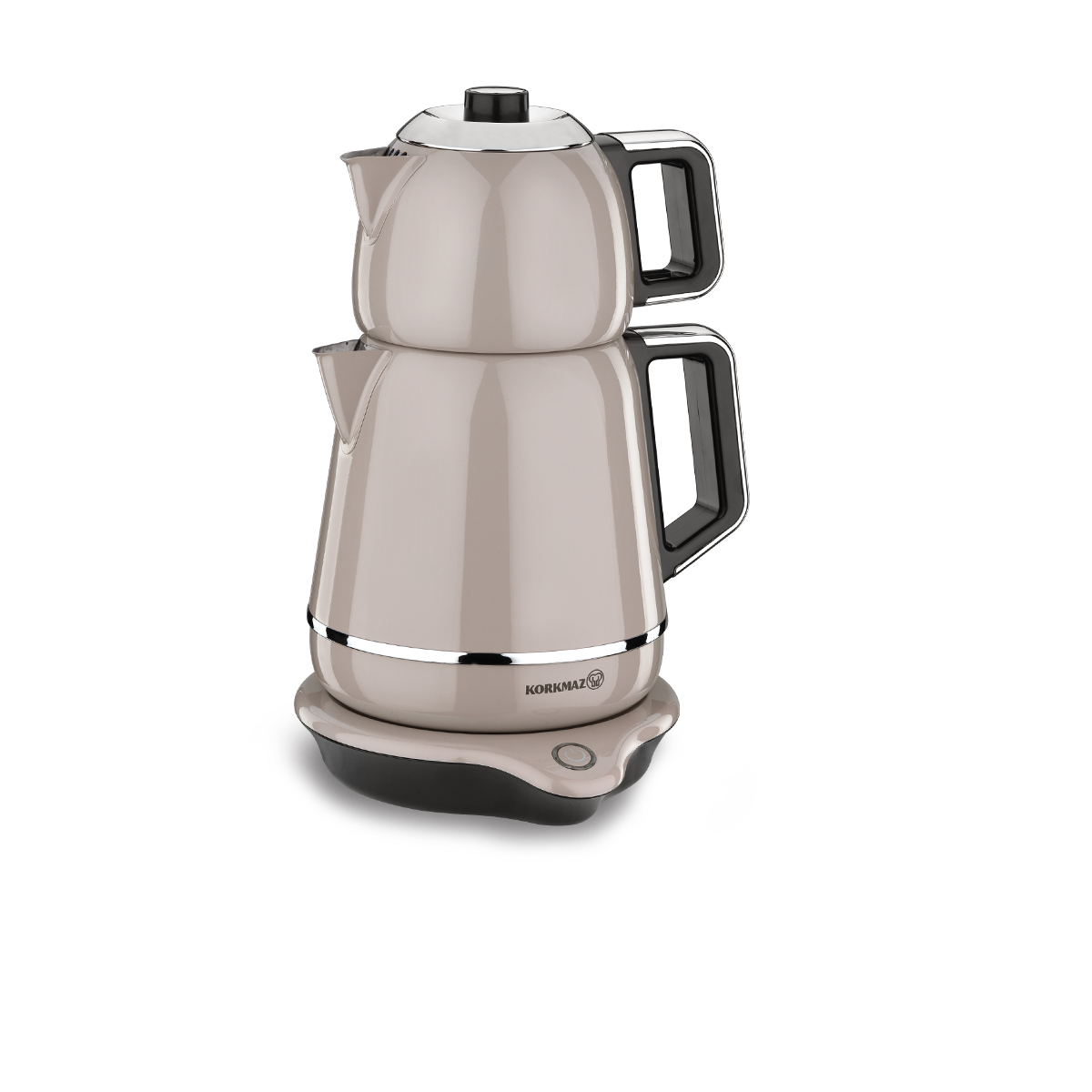 Korkmaz Demiks Bej/Krom Elektrikli Çaydanlık