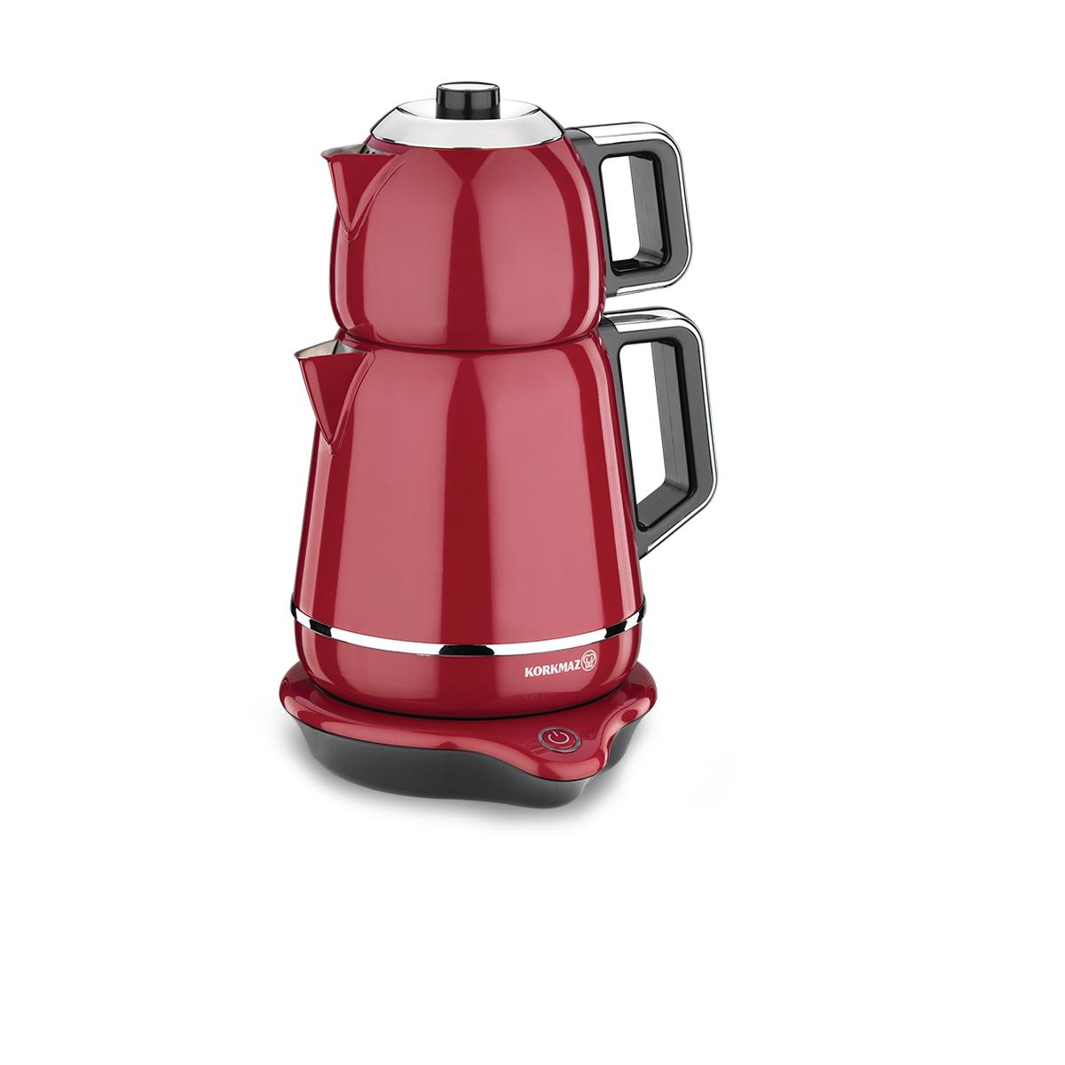 Korkmaz Demiks Kırmızı/Krom Elektrikli Çaydanlık