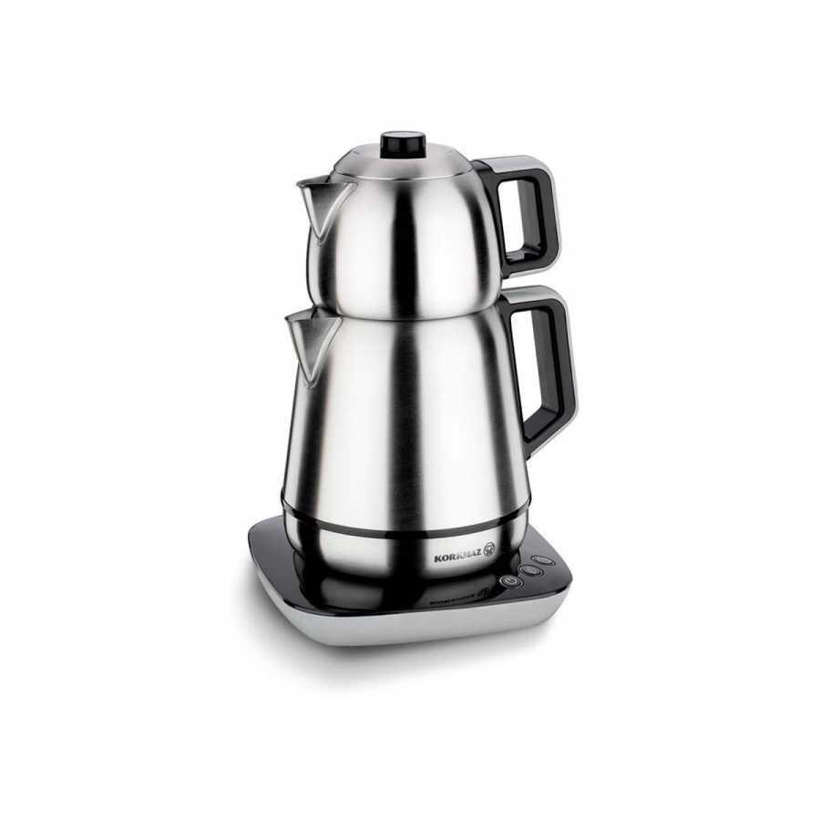 Korkmaz Demiks Satin/Siyah Elektrikli Çaydanlık