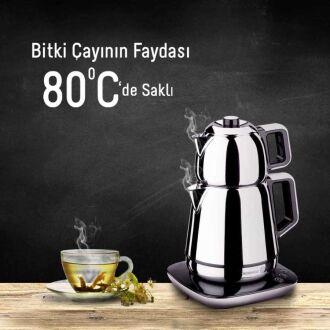 Korkmaz Demiks Satin/Siyah Elektrikli Çaydanlık - Thumbnail