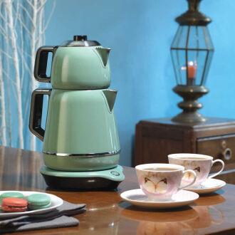Korkmaz Demiks Turkuaz/Krom Elektrikli Çaydanlık - Thumbnail