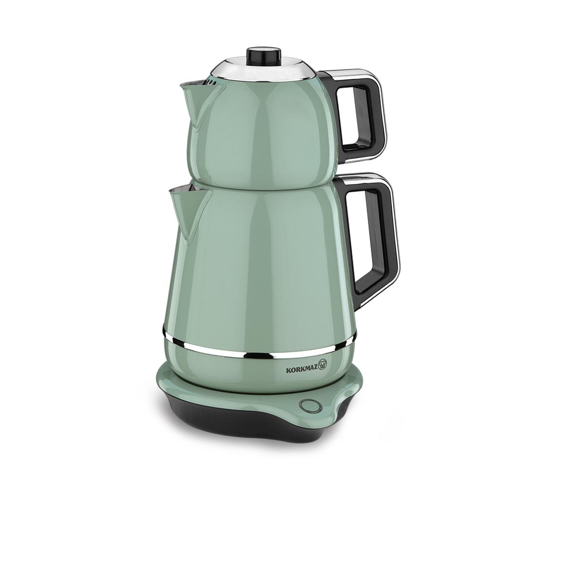 Korkmaz Demiks Turkuaz/Krom Elektrikli Çaydanlık