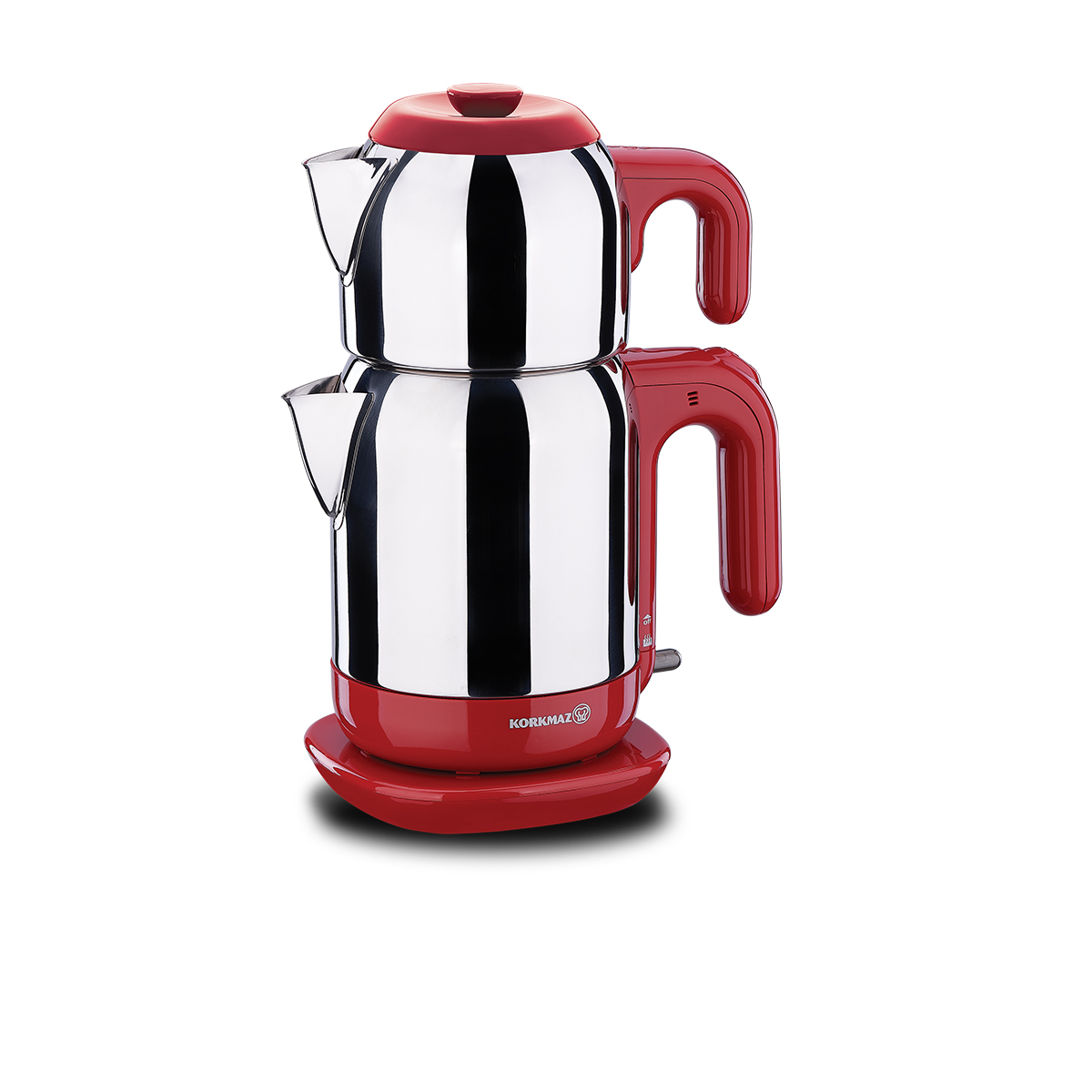 Korkmaz Demtez Inox/Kırmızı Elektrikli Çaydanlık