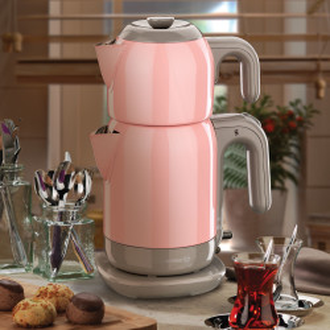 Korkmaz - Korkmaz Demtez Pembe/Gri Elektrikli Çaydanlık (1)