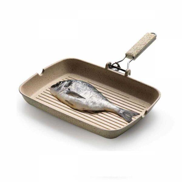 Korkmaz Fine-Cast 34 cm Bej Granit Pratik Grill (Balık) Tava