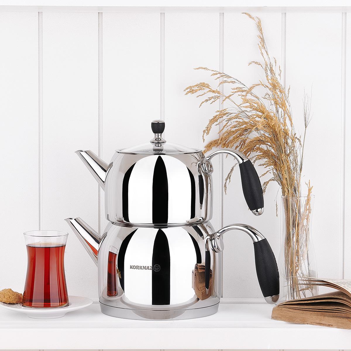 Korkmaz Flora Siyah Maxi Çaydanlık Takımı