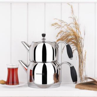 Korkmaz Flora Siyah Maxi Çaydanlık Takımı - Thumbnail