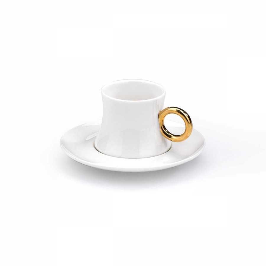 Korkmaz Freedom 6lı Beyaz/Gold Kahve Fincan Takımı