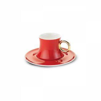 Korkmaz - Korkmaz Freedom 6'lı Kırmızı Kahve Fincan Takımı (1)