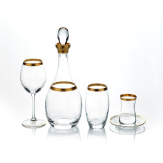 Korkmaz Gala Gold 49 Parça Bardak Seti - Thumbnail