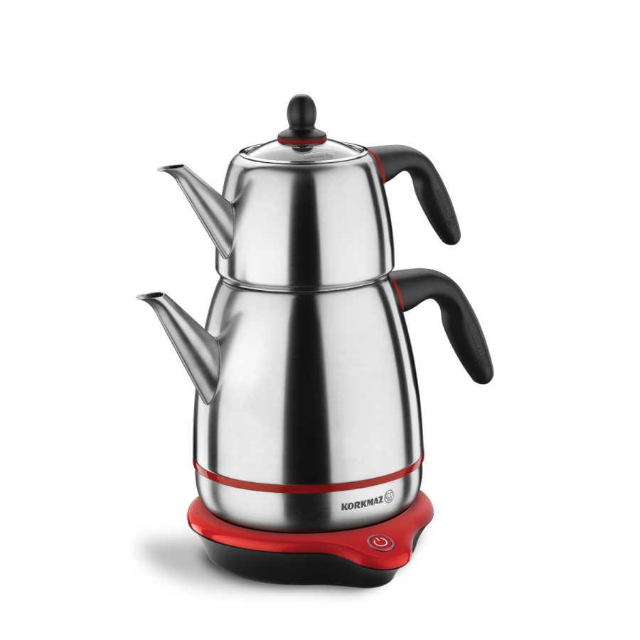 Korkmaz Gusto Inox/Siyah Elektrikli Çaydanlık