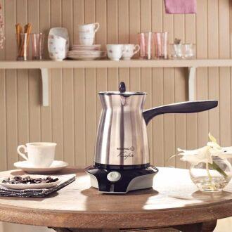 Korkmaz - Korkmaz Kafein Satin Inox/Siyah Elektrikli Cezve Makinesi (1)