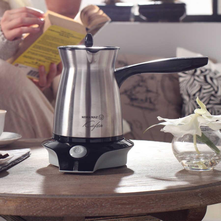 Korkmaz Kafein Satin Inox/Siyah Elektrikli Cezve Makinesi