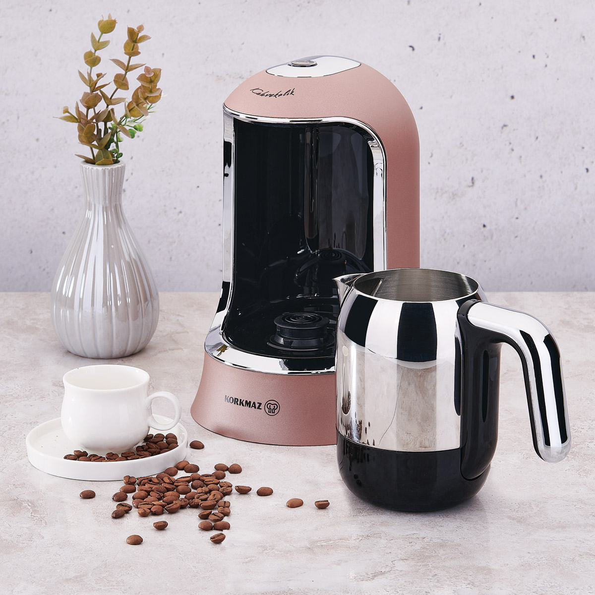 Korkmaz Kahvekolik Rosagold/Krom Otomatik Kahve Makinesi