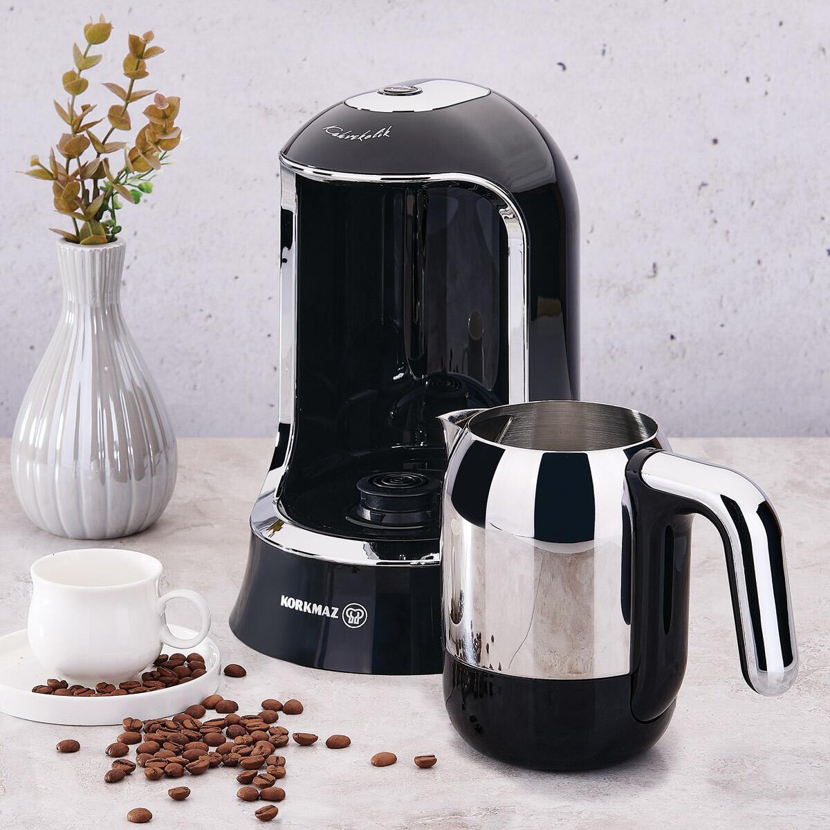 Korkmaz Kahvekolik Siyah/Krom Otomatik Kahve Makinesi