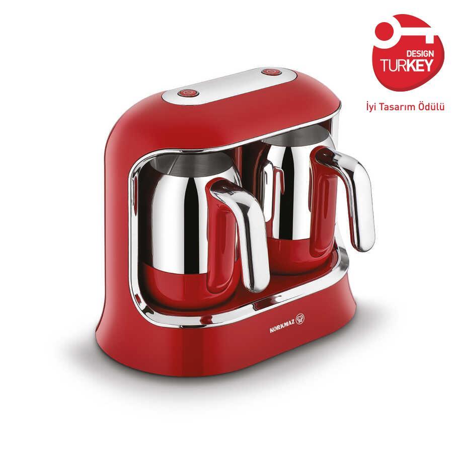 Korkmaz Kahvekolik Twin Kırmızı/Krom Otomatik Kahve Makinesi