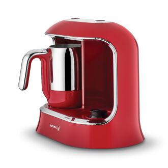 Korkmaz Kahvekolik Twin Kırmızı/Krom Otomatik Kahve Makinesi - Thumbnail
