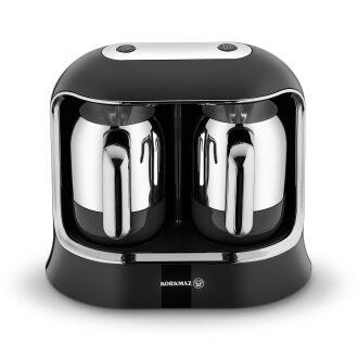 Korkmaz Kahvekolik Twin Siyah/Krom Otomatik Kahve Makinesi - Thumbnail