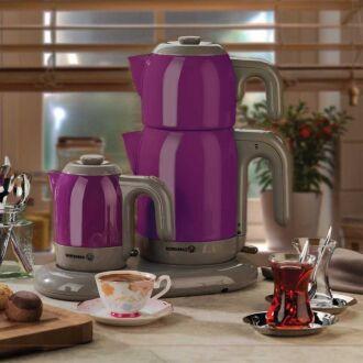 Korkmaz - Korkmaz Mia Mor/Gri Çay Kahve Makinesi (1)