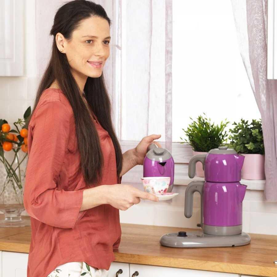 Korkmaz Mia Mor/Gri Çay Kahve Makinesi