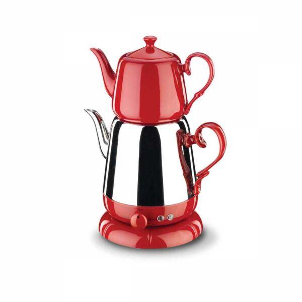 Korkmaz Nosta Inox/Kırmızı Elektrikli Çaydanlık