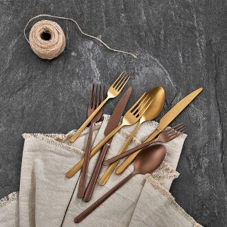 Korkmaz Riva Rosagold 24 Parça Çatal Kaşık Bıçak Seti - Thumbnail