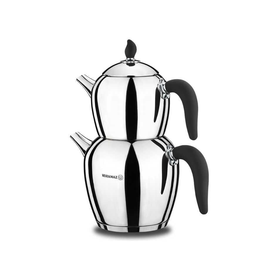 Korkmaz Şehnaz Siyah/Krom Çaydanlık Takımı