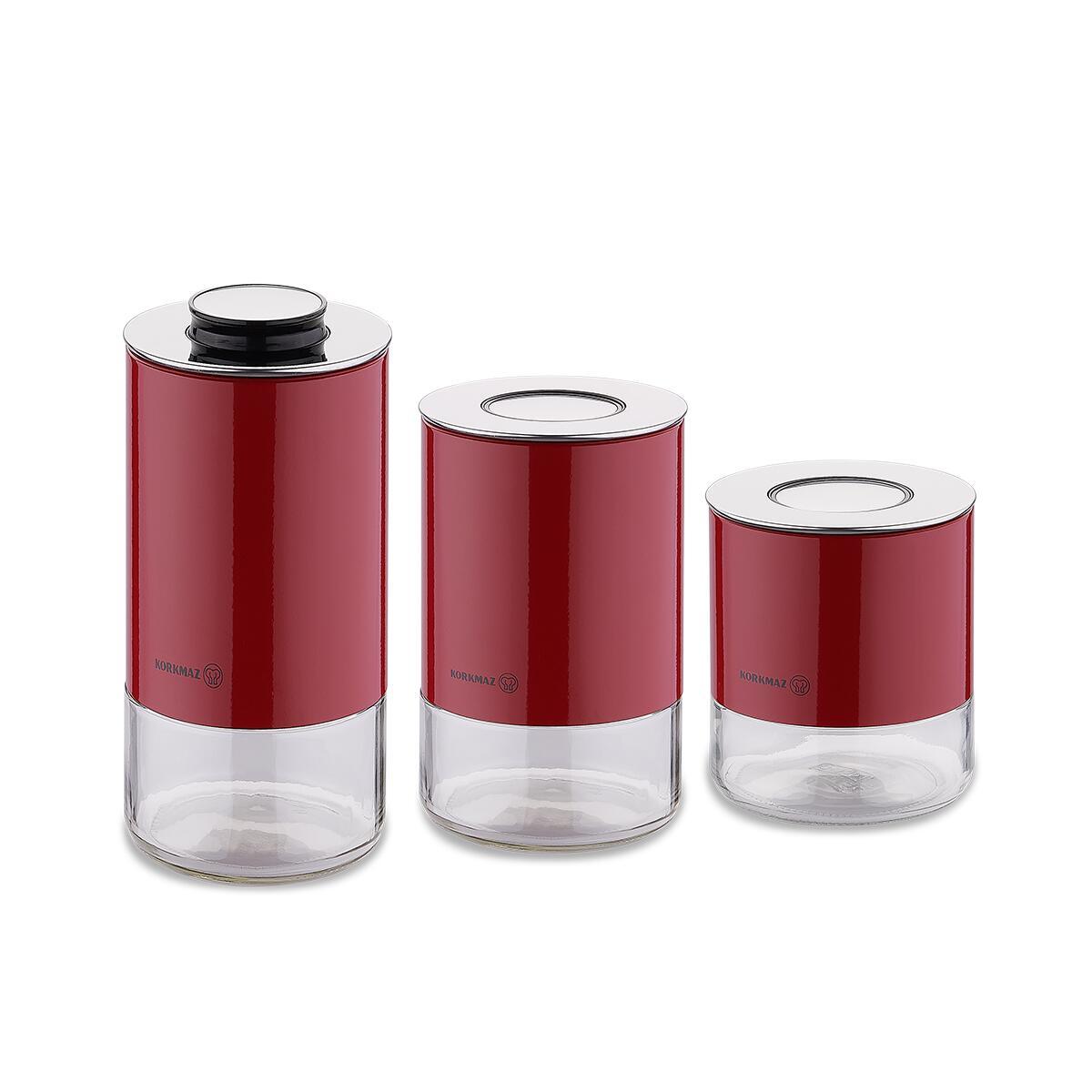 Korkmaz Stora Plus 3lü Kırmızı Saklama Seti
