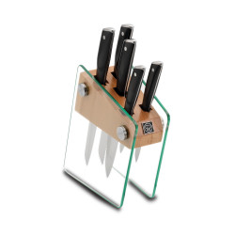 Korkmaz Vetra Cam Standlı Bıçak Seti - Thumbnail